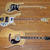 (Top to bottom): 1975 Fender Stratocaster, 1978 Rickenbacker 4001 with Ric-O-Sound, 1972 or 1973 Epiphone FT-350BL El Dorado