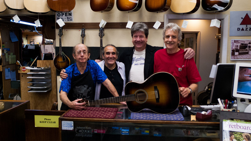 At Gryphon Stringed Instruments in Palo Alto, California.  Frank Ford, me, Joe McNamara, and Richard Johnston.