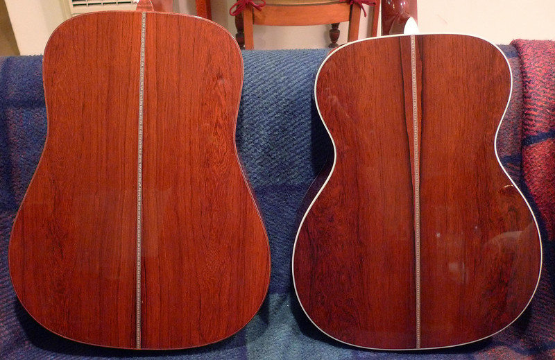On the left is my other Madagascar rosewood guitar, also made in 2008.  Martin America's Guitar 175th Anniversary dreadnaught.