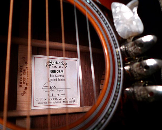 """Label, signed by """"Eric"""", showing this to be #1 in the series.   Normally #1 goes to the signature artist.<br /> <br /> Also shown is the 175th Anniversary logo, laser cut into the center strip on many 2008 Martins."""
