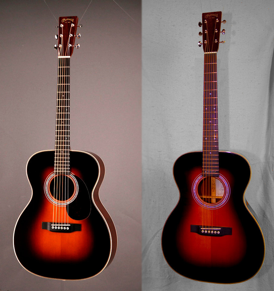 The picture on the left is before I removed the pickguard, on the right is after.  (Ignore color differences, they are a result of differences in the lighting, nothing was changed except removal of the pickguard).