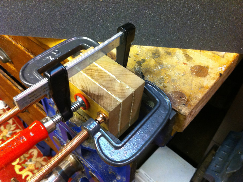 This is where I went to bed, after setting up the assembly in the vise and a few clamps.   Next   ——>