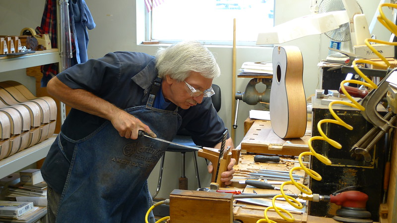 Adjusting the dovetail.  All Martin's craftspeople sharpen their own tools.