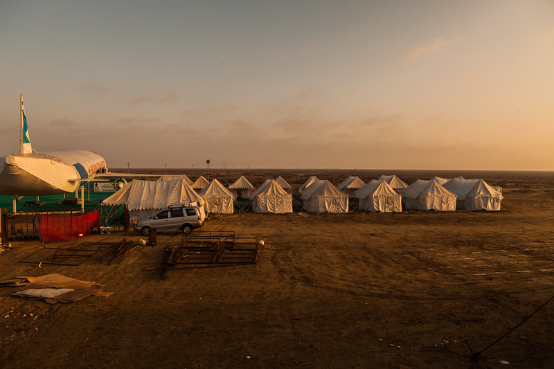 Tents set up for tourists on the outskirts of the White Rann of Kutch in Gujarat, India