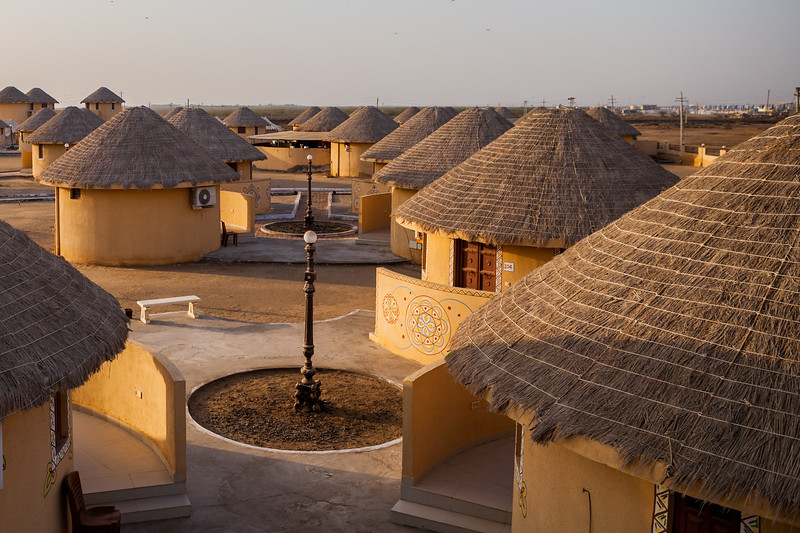Bhunga huts in the White Rann Resort in Kutch, Gujarat, India