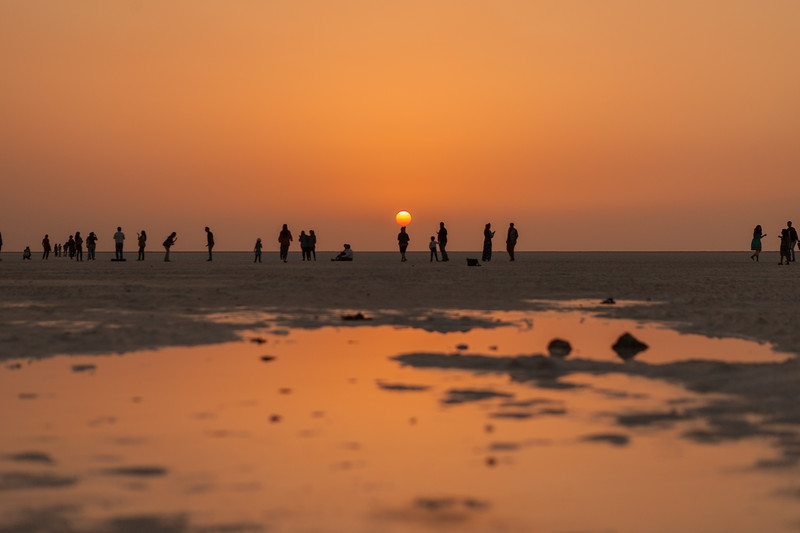 Sunset at the White Rann of Kutch, Gujarat, India