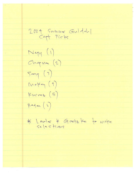 2004 Summer Guldahl Cup CAPT Pick Numbers 051904_0001