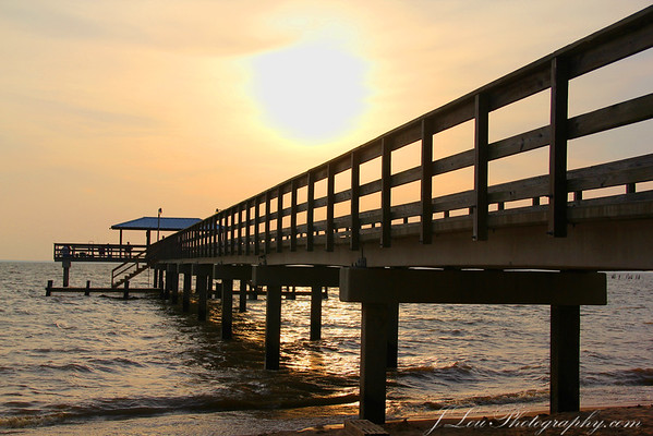 May Day Park pier at sunset.