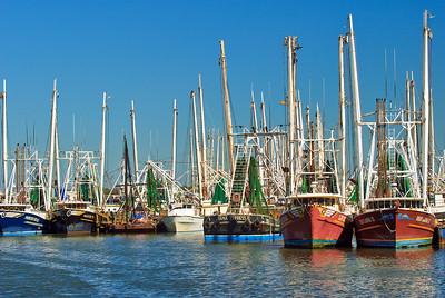 Larger Gulf Shrimpers at Galveston Docks