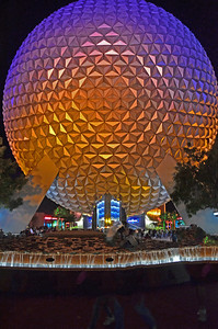 Spaceship Earth in Epcot at Walt Disney World. Taken handheld at 7:25 PM