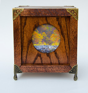 """Pipestem in the Fall -- An illuminated Photo Curiosity Box made of Red Oak. 6.5"""" W x 6.5"""" D x 7"""" D. It is a High Dynamic Range (HDR) photograph printed onto Digital Ground and placed in a wooden box I constructed."""