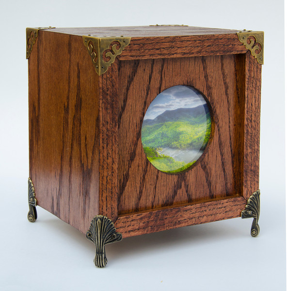 "Rain Moves Into the Valley -- An illuminated Photo Curiosity Box made of Red Oak. 6.5"" W x 6.5"" D x 7"" D. It is a High Dynamic Range (HDR) photograph printed onto Digital Ground and placed in a wooden box I constructed."