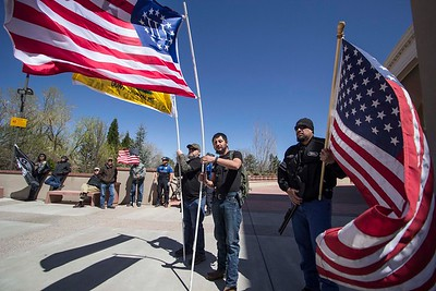 A crowd of nearly 150 people gathered at the state capitol building in Santa Fe on Saturday to rally in favor of gun rights. Gabriela Campos/The New Mexican