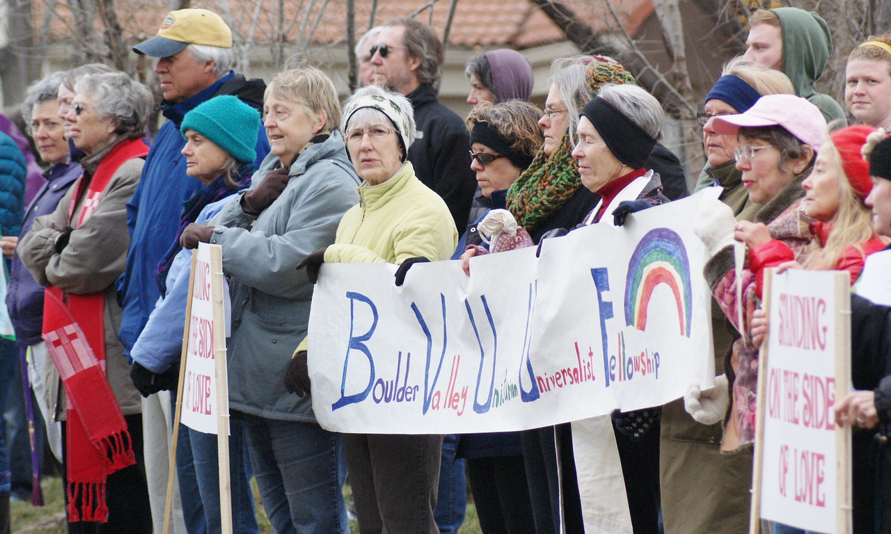 """Boulder, Colorado area residents attend a """"Prayer Meeting"""" organized by clergy & faith leaders from around Boulder County, in response to a pro-gun lobby fundraiser and magazine giveaway."""