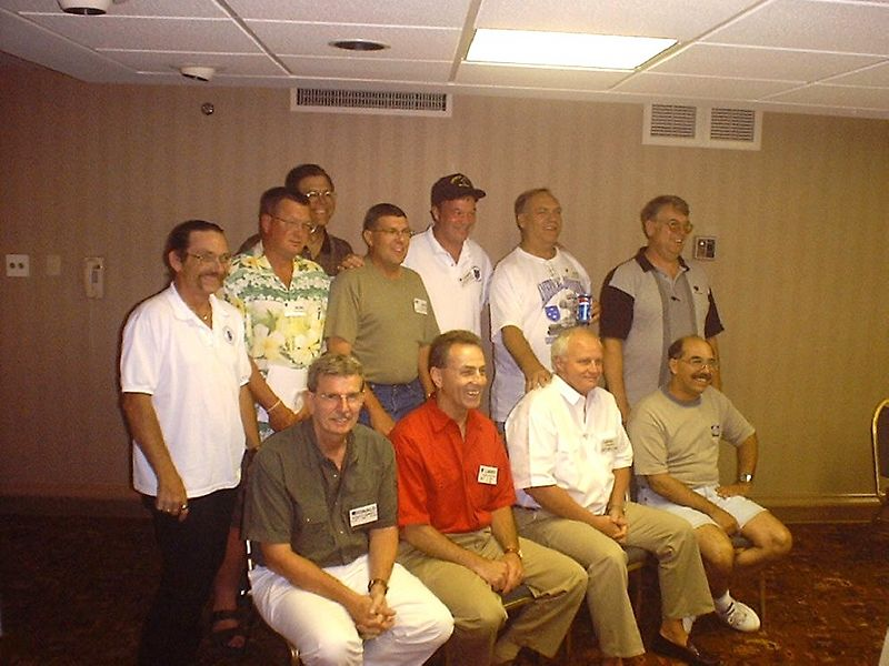 SA-1 Standing, L-R: Dan Stringham, Ron Ward, Jim Turner, Bob Moles, Larry Boetsch, Don Kaiser, and Robert 'Doc' Finger; <br /> Sitting, L-R: Don 'Daddy' Hammett, Larry Watson, Lawrence Shull, and Jim Fontana. Not shown are Jim Brewer and  Alan Allen, also in attendance.