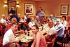 KCR-14 Breakfast before going home Terry and Terri Buelow, John Carlson (almost hidden), Larry Boetsch (front), Red Nash (beard), Jeff Allen (Allen's brother, who has atttend the last three reunions), Joe Gamache (almost hidden), June Tabb, Alison Boetsch (front), Marvin Tabb, Harry Thompson (standing), Jim Fontana (front), Judy Thompson, Kay Caneva, Bob Moles, Debbie Moles, and Judy Turner