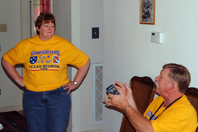 AA06MR-8: Terri Buelow and Alan Allen - Alan must be telling Terry that he forgot to take ANY photos of the reunion at his home - ugh!