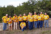 "AA06MR-03: The Co. A vets attending the 2006 reunion in Texas are John ""Chunky""  Carlson (NJ), 1st Platoon; Ron Bozeman (TX), 1st Platoon; Alan Allen  (TX), 1st  platoon; Tommy Foley (TX), 2nd Platoon; Terry Buelow (IA),  2nd Platoon; Don Kaiser (TX), 3rd Platoon; Frank Brennan (ME), HQ and  CO; Harry Thompson (TX), HQ; John Senick (PA), 1st Platoon; George  Meek (CA), 1/14th Arty; Joe Gamache (RI), HQ; and kneeling, Jerome  ""Buddy"" Meyer (CA), 4th Platoon. The wonderful commemorative t-shirts, provided by Thompson, were a big hit with all the attendees."