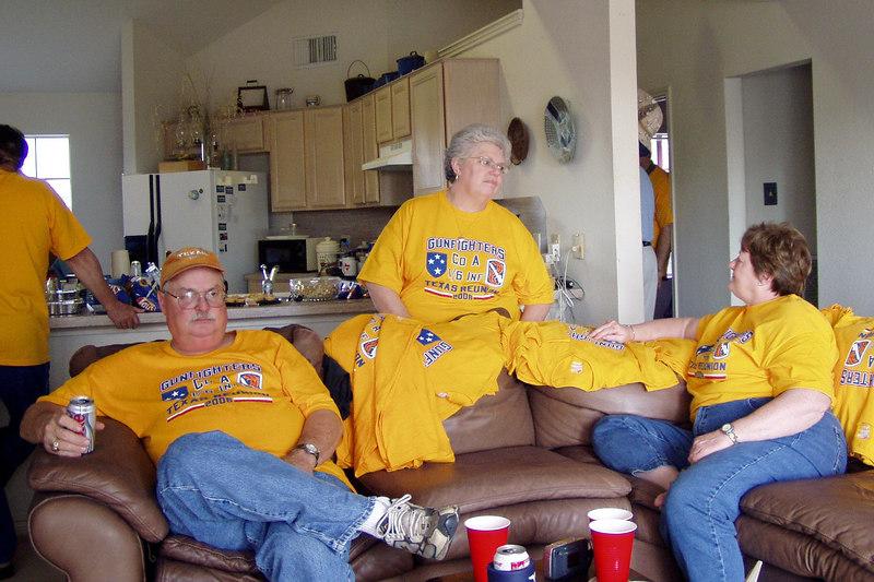 AA06MR-05: Harry Thompson (TX), HQ; Jill Senick, and Terri Buelow at the reunion in Texas, 2006.