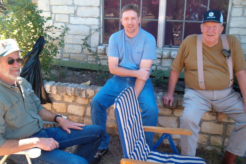 08MR-21: Glenn Boydston, Allen's fishing buddy, Jeff and Joe Ed Allen, enjoy the beautiful weather.