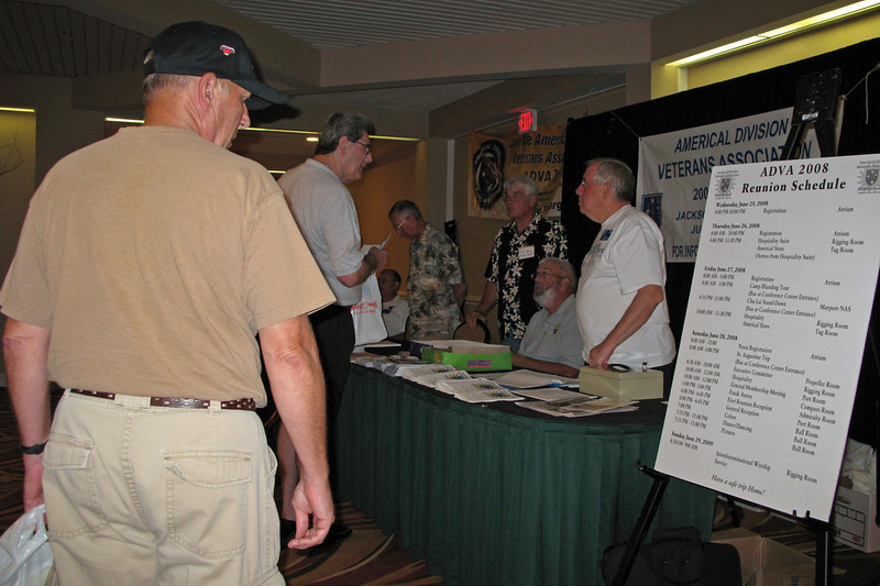 JR01: Americal Division Veterans Association (ADVA) sign-in table at the Jacksonville reunion. The Wyndham Hotel did a great job supporting the ADVA and the 1/6th was given a free breakout room, which was well supported by the Wyndham staff.