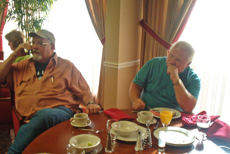 JR47: Harry Thompson (TX) and Ron Melyan (NJ) mull things over at the breakfast on Sunday morning.