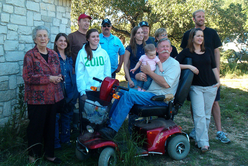TX-09-MINI-10: Geraldene Allen, Charlotte Allen, Jeff Allen, Carlie Allen, Doug Allen, Maggie Allen, Joe Ed Allen, Bonnie Allen, Shauna Allen, Nathan Allen, and Riley Allen and Alan Allen on scooter.