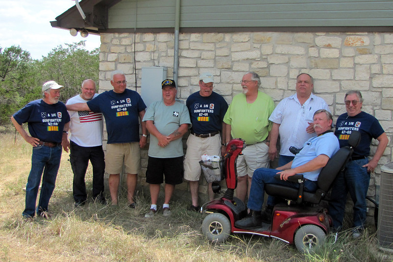 TX-11-MINI-27: The June 2011 vet attenders at the mini; (Lt.) Bill Wendover, Terry Buelow, John Carlson, Frenchy Charbonneau, Larry Boetsch, Harry Thompson, Don Kaiser, Joe Gamache, and Alan Allen in scooter.