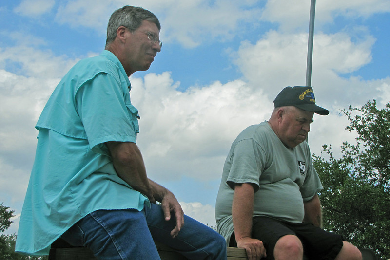 "TX-11-MINI-13: Jeff Johnson, Allen's brother-in-law, chats with Thomas ""Frenchy"" Charbonneau. The Johnson's drove down from near Lubbock for their first Texas mini-reunion."