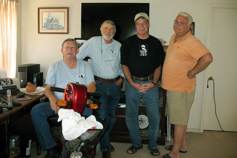 TX-11-MINI-49: Alan Allen, Texas; Bill Wendover, CA; Larry Boetsch and John Carlson, NJ; all of 1st Platoon. At Allen's house for the June 2011 mini-reunion.