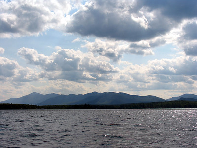 A view of the mountains from the lake.