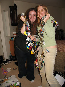 Gwen and Penny with Joel's key chain collection