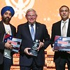 "New jersey State Sanator Bob Manendiz ( Chair Senate Foreign Relations Committee ) honoring with  American  Flags the to host of   ""Oneness""  A light of humanity  , during 550 birth Anniversary of GuruNanak celebrations in NJ on 23rd Nov 2019 in photo Onkar Singh, Senator Bob Menendez, Sukheinder Kaila   ...pic Mohammed Jaffer-SnapsIndia"