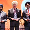 New Jersey Governor Phil Murphy (center), New Jersey State  Attorney General Gurbir Grewal(right) and Hoboken City  Mayor Mayor Ravi Bhalla (left), being honored during the 550th birth Anniversary of Guru Nanak at NJPAC in New jersey on 23rd Nov 2019...photo Mohammed Jaffer-SnapsIndia