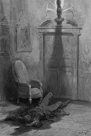 And my soul from out that shadow that lies floating on the floor Shall be lifted—nevermore!<br /> <br /> The Raven / by Edgar Allan Poe ; illustrated by Gustave Doré, 1884