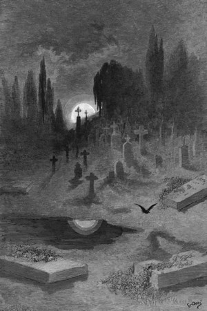 Wandering from the Nightly shore.<br /> <br /> The Raven / by Edgar Allan Poe ; illustrated by Gustave Doré, 1884