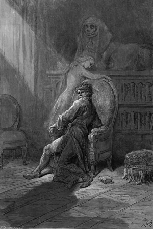 On this home by Horror haunted.<br /> <br /> The Raven / by Edgar Allan Poe ; illustrated by Gustave Doré, 1884