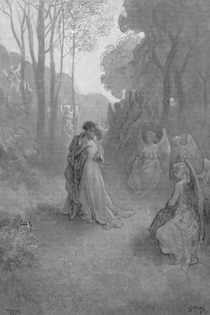 Tell this soul with sorrow laden if, within the distant Aidenn, It shall clasp a sainted maiden whom the angels name Lenore.<br /> <br /> The Raven / by Edgar Allan Poe ; illustrated by Gustave Doré, 1884