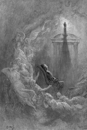 Till I scarcely more than muttered, 'Other friends have flown before— On the morrow he will leave me, as my hopes have flown before.<br /> <br /> The Raven / by Edgar Allan Poe ; illustrated by Gustave Doré, 1884
