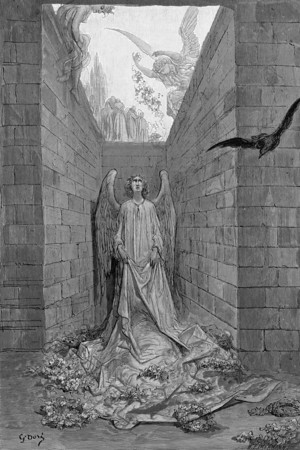 Sorrow for the lost Lenore.<br /> <br /> The Raven / by Edgar Allan Poe ; illustrated by Gustave Doré, 1884