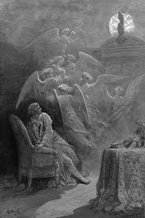 Wretch,' I cried, 'thy God hath lent thee—by these angels he hath sent thee Respite—respite and nepenthe from thy memories of Lenore!<br /> <br /> The Raven / by Edgar Allan Poe ; illustrated by Gustave Doré, 1884