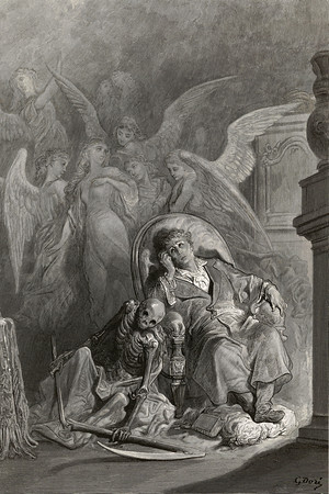 Eagerly I wished the morrow; vainly I had sought to borrow From my books surcease of sorrow—sorrow for the lost Lenore.<br /> <br /> The Raven / by Edgar Allan Poe ; illustrated by Gustave Doré, 1884
