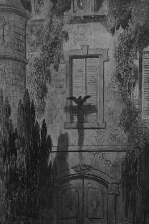 Surely,' said I, 'surely that is something at my window lattice; Let me see, then, what thereat is, and this mystery explore.<br /> <br /> The Raven / by Edgar Allan Poe ; illustrated by Gustave Doré, 1884