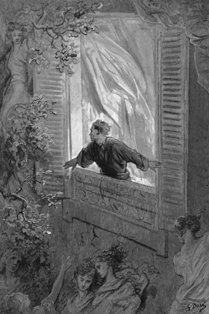 Open here I flung the shutter.<br /> <br /> The Raven / by Edgar Allan Poe ; illustrated by Gustave Doré, 1884
