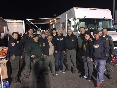 Guy Fieri poses with law enforcement at a staging center in Chico. (Butte County Sheriff's Office -- Contributed)