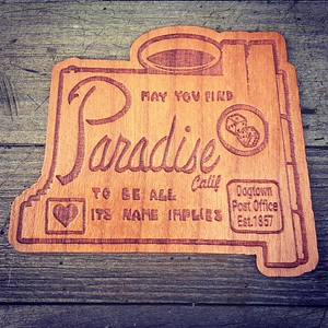 Humboldt County-based WoodLab Designs recreated the iconic city of Paradise sign and is giving it to those affected by the Camp Fire. (WoodLab Designs -- Contributed)