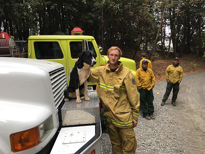 Miranda firefighter David Felt poses with a local dog who joined up with fire crews as they staged at the Camp Fire. (Kent Hulbert -- Contributed)