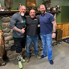 From left, 50 Legs Founder Steve Chamberland of Tampa, Fla., and host Guy L. Constantine and Dan Whitman, both of Tyngsboro