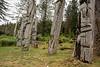 Mortuary and memorial poles, S'Gaang Gwaii, Gwaii Haanas Haida Heritage Site, Haida Gwaii, BC