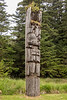Mortuary pole with bear symbol, S'Gaang Gwaii, Haida Gwaii, BC